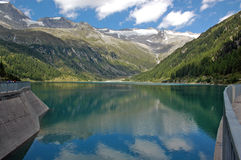 Artificial lake. On Alps Stock Images