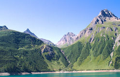 Artificial lake on alps Stock Images