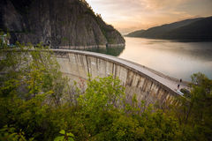 Artificial Lake behind the Bicaz Dam at sunset Royalty Free Stock Images