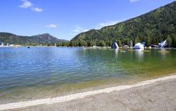 Artificial lake. Biryuzovaya Katun for summer holiday. Altai. Russia Stock Image