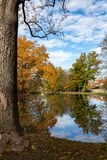 Artificial lake in castle park royalty free stock images
