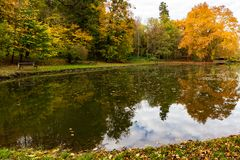 Artificial lake in castle park stock image