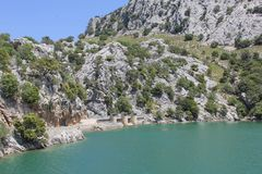 Artificial Cuber lake and dam, Mallorca, Spain. Artificial lake Cuber for the production of energy and electricity in the Tramuntana Mountains in Mallorca ( Stock Photos