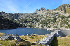 Artificial lake with a dam in the Haut-Pyrenees Royalty Free Stock Images