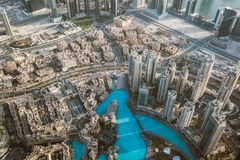 Artificial bay in Dubai from the top. Artificial lake in Dubai from the top, United Arab Emirates royalty free stock photos