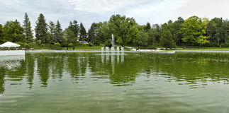 Artificial lake with fountains royalty free stock image