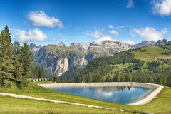 Artificial lake in the mountains Royalty Free Stock Photography