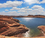 The artificial Lake Powell in the red desert Royalty Free Stock Photo