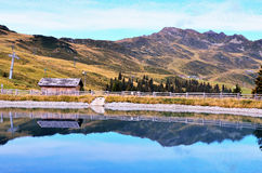 Artificial lake in racines Stock Photo