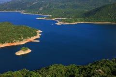 Panoramic view of Slansko jezero near town of Niksic. The artificial lake Slansko Jezero or Salt lake near Niksic city. Montenegro, Europe Royalty Free Stock Image
