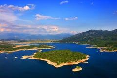 Panoramic view of Slansko jezero near town of Niksic. The artificial lake Slansko Jezero or Salt lake near Niksic city. Montenegro, Europe Royalty Free Stock Photo