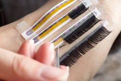 Artificial lashes. eyelash extension stock photos