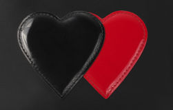 Artificial Leather Black and Red Heart shape Royalty Free Stock Photo