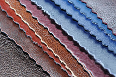 Artificial Leather Samples. A stack of multicolored artificial leather samples Stock Image