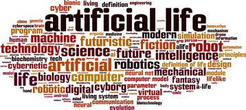 Artificial life word cloud stock illustration