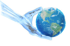 An artificial limb holding Earth Stock Photo