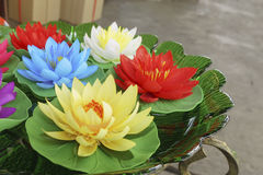 Artificial lotus in tub Royalty Free Stock Photo
