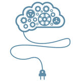 Artificial mind and intelligence - brain with gearwheels Royalty Free Stock Photos