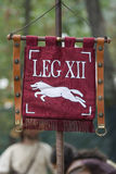 Artificial models of roman pennants. Outdoor shot Royalty Free Stock Images