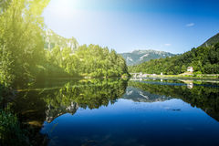Artificial mountain lake Stock Images