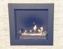 Artificial natural gas fireplace Royalty Free Stock Image