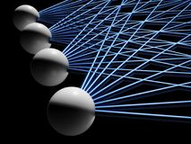 Artificial neural network fragment isolated. On black, 3d illustration Royalty Free Stock Image