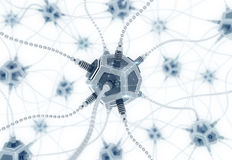 Artificial Neural Network. Neural nodes, connected together with a synaptic links in electronic cyberspace. 3D rendering image on the subject of `Artificial Stock Photography