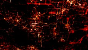 Artificial Neural Network. Red electronic nodes in electronic cyberspace