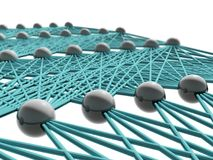 Artificial neural network schematic structure. Isolated on white, 3d illustration Royalty Free Stock Images