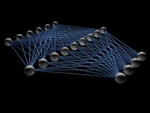 Artificial neural network structure model. Isolated on black, 3d render illustration Royalty Free Stock Photos