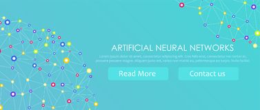 Artificial neural networks banner. A form of connectionism ANNs. Computing systems inspired by the biological brain networks. Artificial neural networks banner Stock Photos
