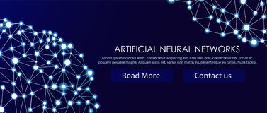 Artificial neural networks banner. A form of connectionism ANNs. Computing systems inspired by the biological brain networks. Artificial neural networks banner Royalty Free Stock Photos