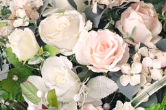 Artificial orange and white rose flowers bouquet Royalty Free Stock Photos
