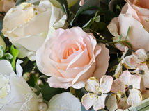 Artificial orange and white rose  flowers bouquet Stock Photography