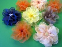 Organza fabric flowers Stock Photography