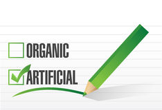 Artificial over organic check mark illustration Royalty Free Stock Photography