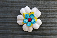 Artificial paper flower on plastic fiber Stock Photo