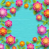 Artificial paper flowers on a blue wooden plank background with copy space in the center. Vector illustration stock illustration