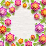 Artificial paper flowers on a white wooden plank background with copy space in the center. Vector illustration Royalty Free Stock Photo