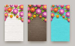 Artificial paper flowers on a wooden plank background with copy space. Three banners. Artificial paper flowers on a wooden plank background with copy space Stock Photo