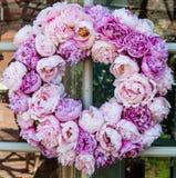 Peony flowers wreath Stock Photo