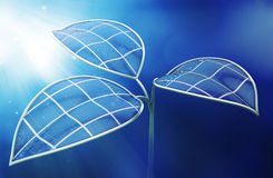 Artificial photosynthesis concept. Photovoltaic leafs - Artificial photosynthesis concept illustration Royalty Free Stock Photos
