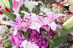 Artificial pink lilly flowers bouquet arrangement for decorated Stock Photos
