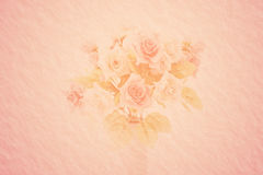 Artificial pink roses bouquet on mulberry paper Royalty Free Stock Images