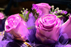 Artificial plastic flowers color realistic Stock Image