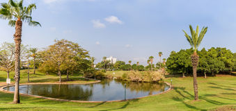The artificial pond in park Stock Photos