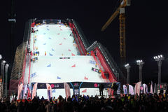 Artificial ramp at Snowboard World Cup Stock Images