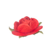 Artificial red flower isolated on white Royalty Free Stock Photo
