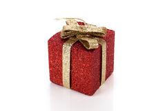 Artificial red gift box. Decorated Stock Photo