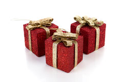 Artificial red gift boxes. Decorated Stock Photography
